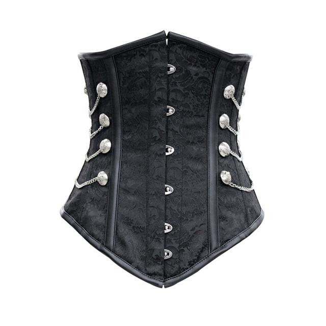 Negro Satin Corset con Cadenas hebilla mujeres góticas steampunk bustiers corsés de cintura Vientre cuerpo bondage 5320