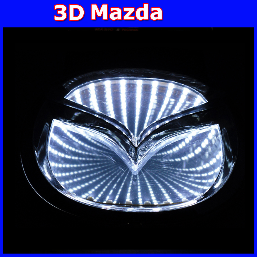 New arrival 3d logo car light LED cold light emblem for MAZDA6  MAZDA2 MAZDA3  MAZDA-CX7 Car Sticker auto badge new arrival 4d car led logo light led cold light logo decoration emblem bulb led badge lamp for renault koleos megane latitude