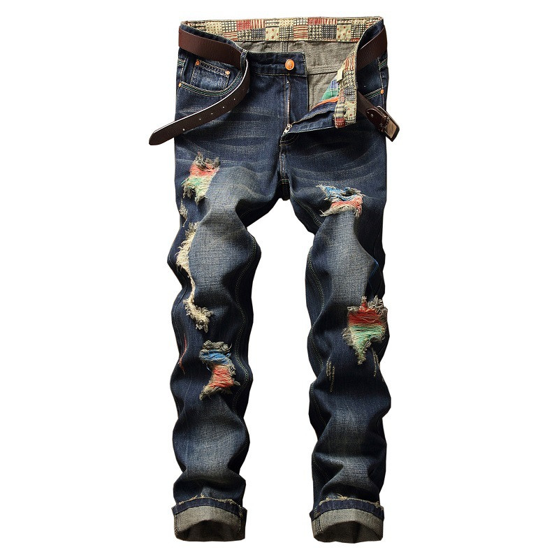 NEW Biker Ink Men Ripped Print Jeans Pants Hole Slim Fit Distressed Painted Denim Trousers Destroyed Punk Rock Jeans купить ваз 21099 в уфе цена до 25000