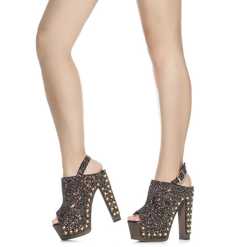 506b98d5f3a Pink Palms Summer Shoes Sequined Glitter Rivets Sandals High Heels Peep Toe  Ankle Strap Platform Sandals in Women's Sandals