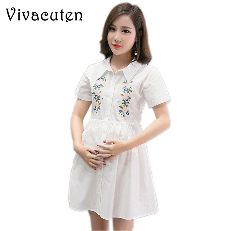 Maternity Shirt Dresses Pregnant Women Fashion Doll Collar Embroidered Loose Plus Size Breastfeeding Dress Pregnancy Clothes M50