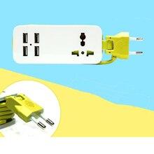 EU/UK Plug 1.5 m Cabo de Extensão Tomada de Viagem Portátil Power Strip Surge Protector com 4 USB 5 v 2A Saída) carregador inteligente