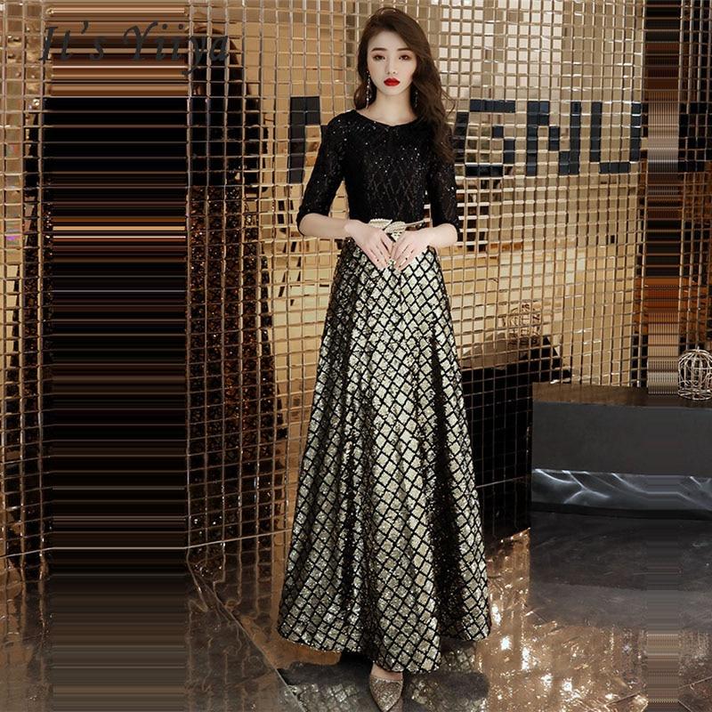 Evening Dresses 2019 Sexy Black Sequines O-neck Long Women Party Dresses Half Sleeve Robe De Soiree Plus Size Prom Dress E469