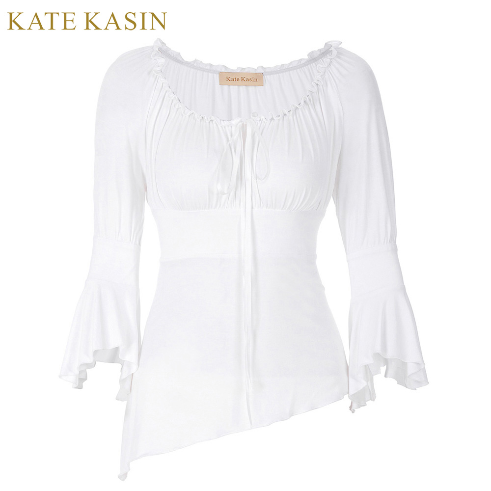 Spring Peplum T Shirt Women Off Shoulder Tee Shirts Femme Designer Long Flare Sleeve Tunic Top Office Daily Kate Kasin