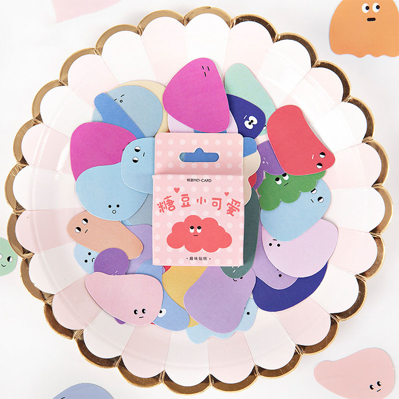 Mohamm Lovely Beans Series Kawaii Cute Sticker Custom Stickers Diary Stationery Flakes Scrapbook DIY Decorative Stickers