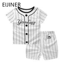 цены Striped Baby Boy Clothes Summer Newborn Baby Boy Clothes Set 2pcs Cotton Baby Girl Clothing Suit Shirt+Pants Infant Clothes Set