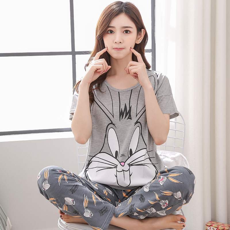 Womens Pajamas Sets 100% Cotton Short-Sleeve Shirts And Pants Animal Print 2019 Pajama Set Sleepwear Women Sexy Summer Homewear