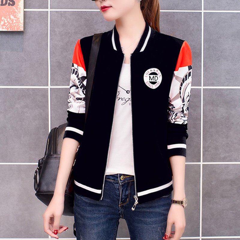 Women   Basic     Jacket   Coat Autumn Print Striped Tops Girl Casual Long Sleeve Baseball Outwear Plus Size Women Bomber   Jacket
