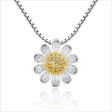 TJP Trendy 925 Silver Jewelry For Girl Bride Engagement Party Fashion Women Daisy Pendants Necklace Accessories Hot Bijou