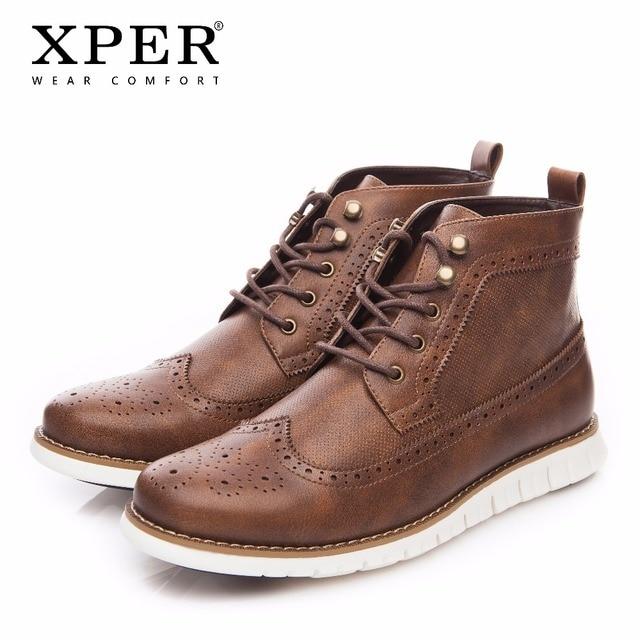 2018 XPER Фирменная Новинка на весну и зиму Мужские ботинки модные Для мужчин на шнуровке обувь из натуральной бычьей кожи мужской мягкая удобная обувь в римском стиле ретро # XHY001