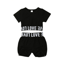 2PCS Kids Baby Girls Clothes Crop Letter T-shirt Tops + Pants Shorts Summer Outfits Set kids baby girls clothes t shirt tops vest short pants shorts children 2pcs outfits summer clothes set