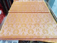 Chinese Silk Brocade Fabric Cushion Pink Back With Gold Golden Double Brids Brid And Sun Flowers