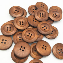 20pcs 25mm Round Wooden Buttons 4 Holes DIY Apparel Sewing Decorative Buttons Scrapbooking Buttons for Clothing 7NK245-4