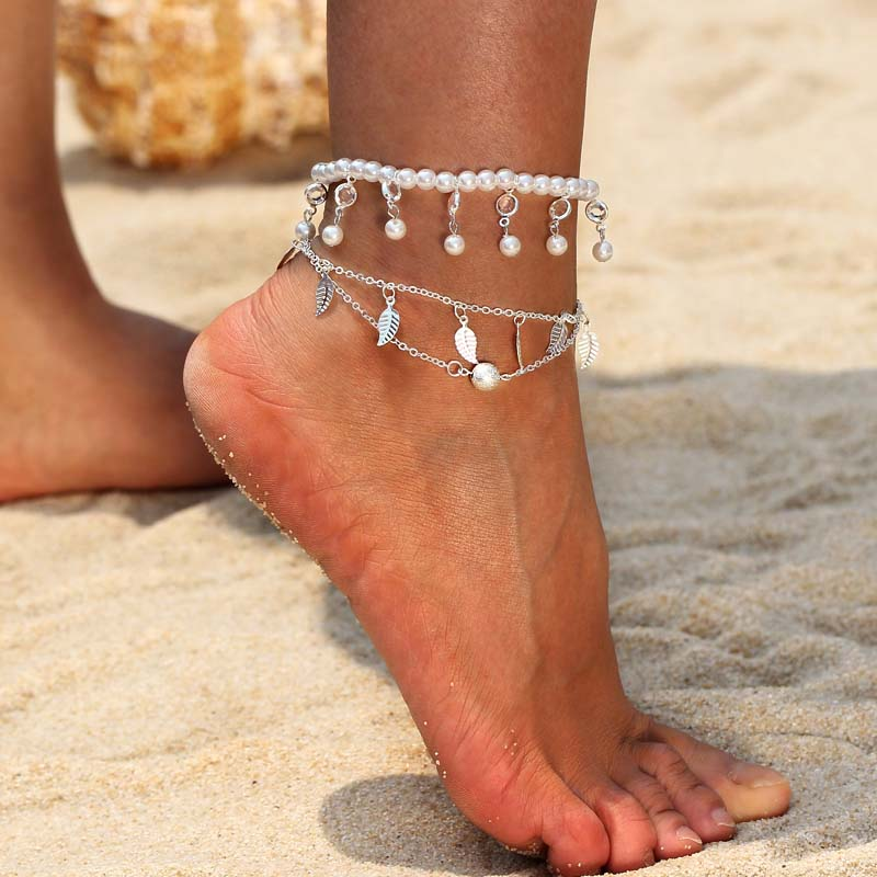Anklets Supply New Beads Anklet Bracelet Chain Silver Ankie Foot Jewelry Beach Barefoot Sandal