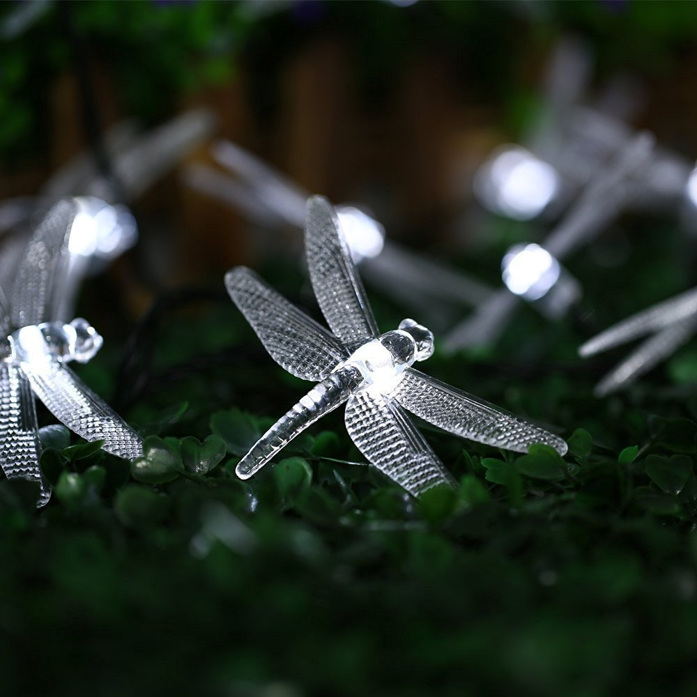 Spain In Stock, 4.8m 20 LED Solar Dragonfly Fairy String Lights Waterproof  Christmas Trees Garden Patio Wedding Party Holiday