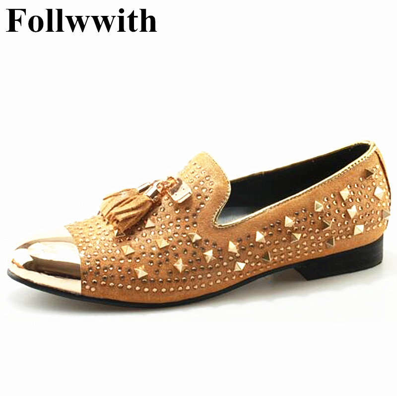 Shiny Leather Rivet Studs Metal Round Toe Fringe Men Shoes Slip On Men Loafers Flats Casual Shoes Party Wedding Shoes branded men s penny loafes casual men s full grain leather emboss crocodile boat shoes slip on breathable moccasin driving shoes