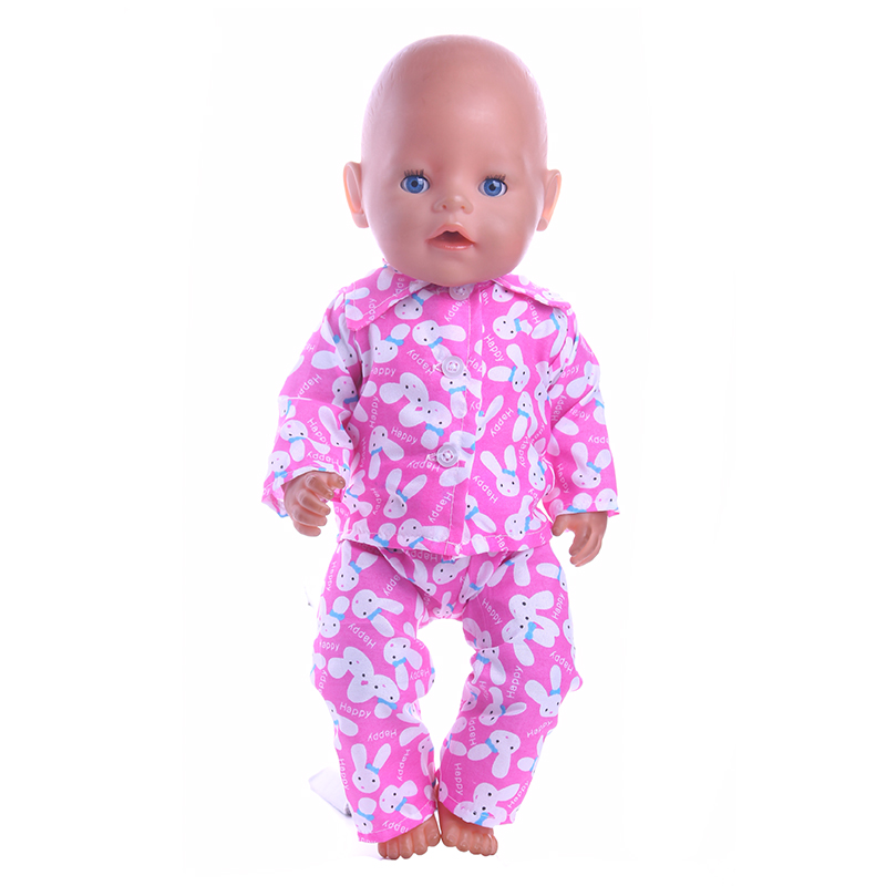 Luckdoll Pink Bunny Cartoon Pajamas Fit 43cm Baby Birth zapf Doll, Children's Best Holiday Gift