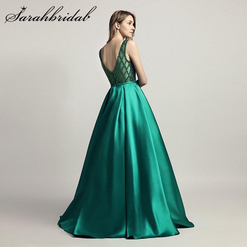 Superbe perlée femme soirée cérémonie robes Dubai 2019 longue robe O cou Satin en Stock longueur de plancher robe de bal CC443 - 6