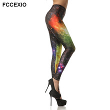 FCCEXIO 3d Printed Leggings The Milky Way Galaxy Orange Spring Summer Fashion Mujer Fitness Legging Legins Trousers for Women