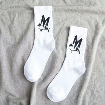 1pair White long Letter Designer Cotton Men Socks Solid Hiphop Skateboard Sporty Casual Socks Animal Funny Student Women Korea 9