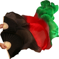 2017 High Selling 100% Real Silk Veils Dancing Fans 1 Pair Handmade High Quality Silk Belly Dance Fans Black+Red+Green Colors