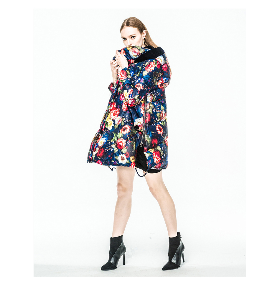 Runway Brand New Series of Oil Painting Flower Graphic Patterns Velvet Hooded  Loose Casual  Winter Down Coat Outwear Plus Size 30 millennia of painting