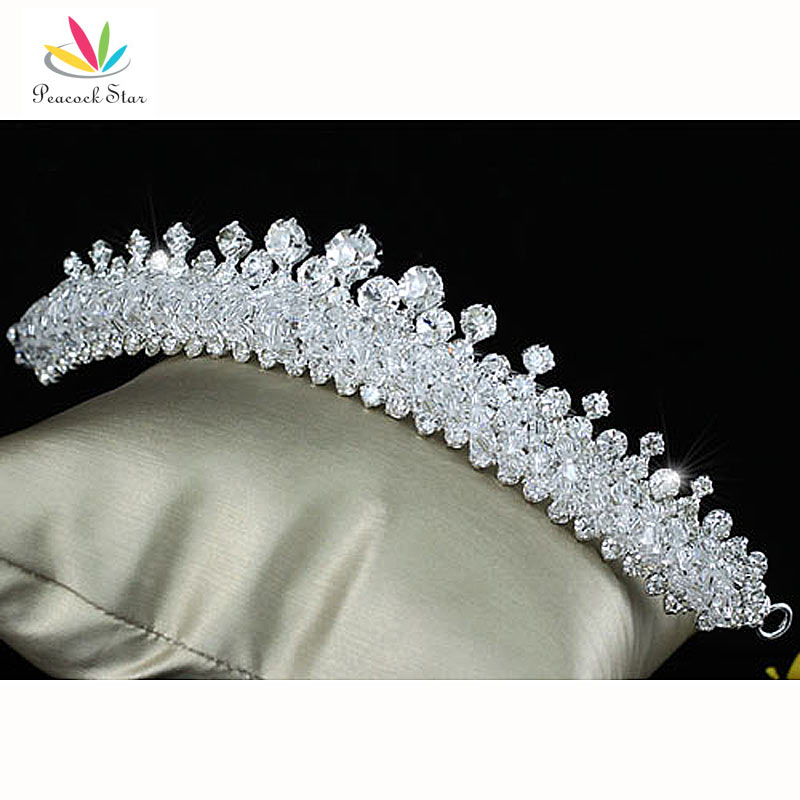 Prix pour Paon Étoiles Nuptiale De Noce Mousseux De Qualité Cristal Autrichien Tiara Peigne CT1502