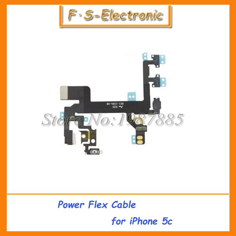 imágenes para 10 unids/lote nueva alta calidad flexible de alimentación para el iphone 5C Power Flex Cable de encendido apagado Flex ribbon Cable de reemplazo envío gratis