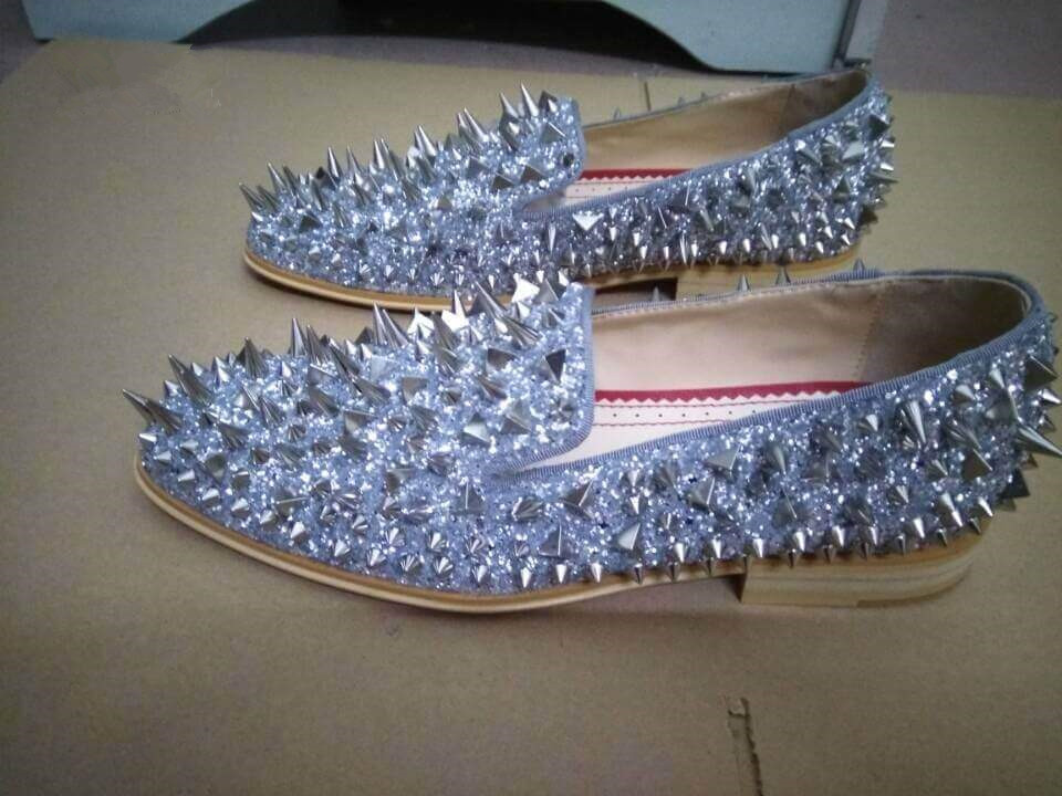 Ntparker New Men Shinny Glitter Flats Shoes Black Sliver Gold Spiked Mens Loafers Slip On Rivets Men Prom Party Wedding Shoes
