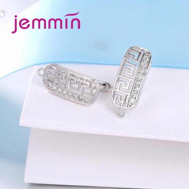Jemmin Fine Hooks Leverback Earwire 925 Sterling Silver Micro Rhinestone Earrings Findings For Jewelry Making DIY Connector