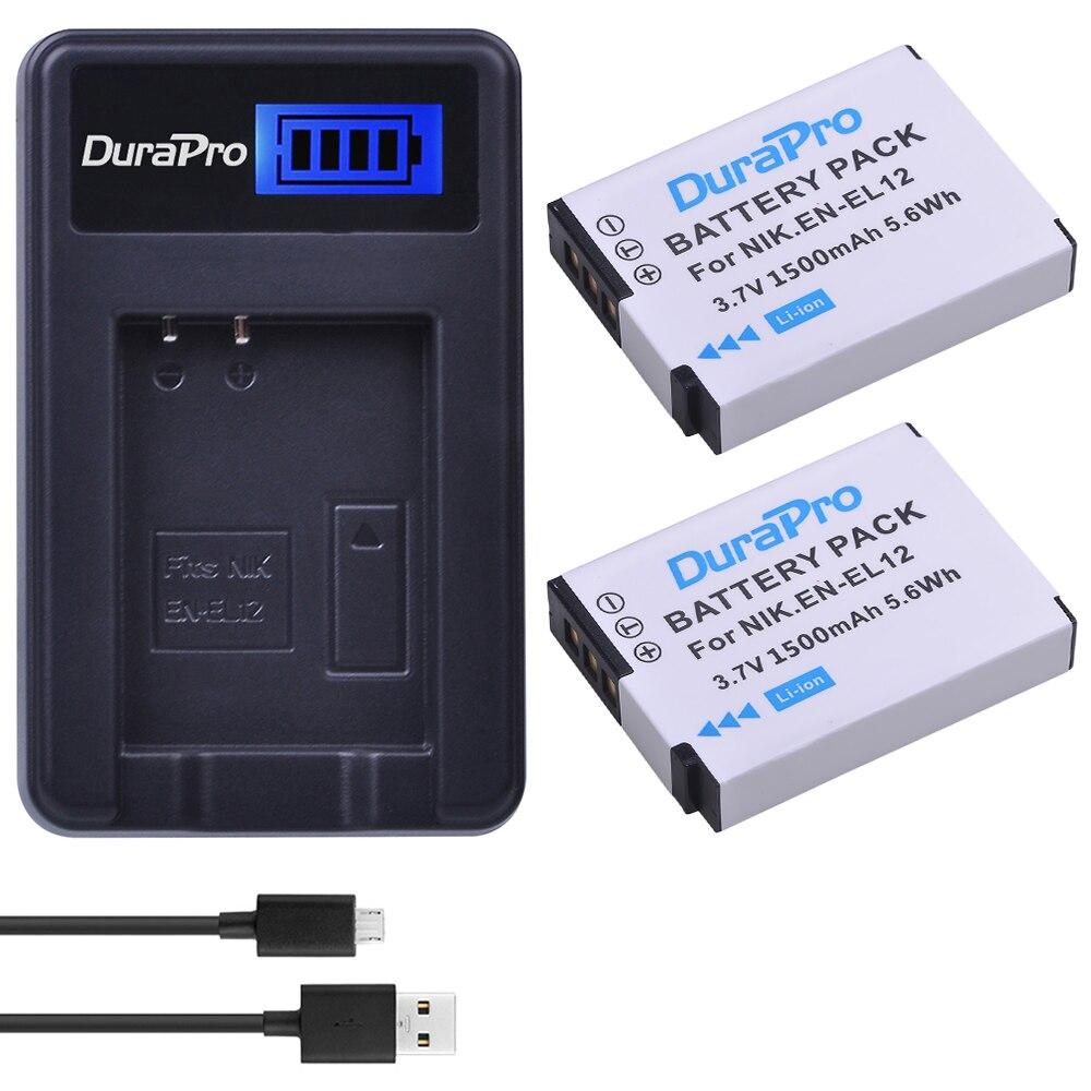 2 uds EN-EL12 es EL12 ENEL12 batería Cámara + LCD USB cargador para NIKON Coolpix AW100 AW120 S9900 S9500 S9200 S8200 S6300 P330