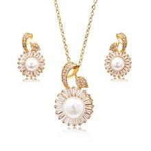 цена на Fashion exquisite pearl earrings necklace suit