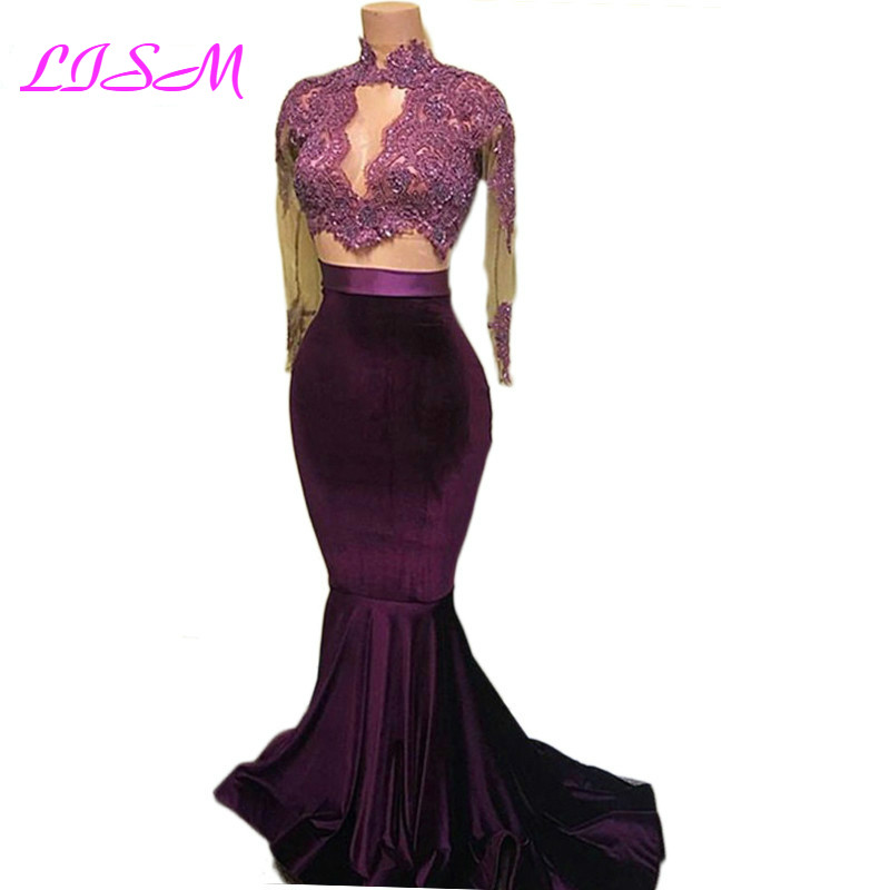 Elegant High Neck Mermaid Prom Dresses Lace Appliques Beaded Long Sleeves Formal Dress 2019 Sexy Bodice Arabic Celebrity Gowns