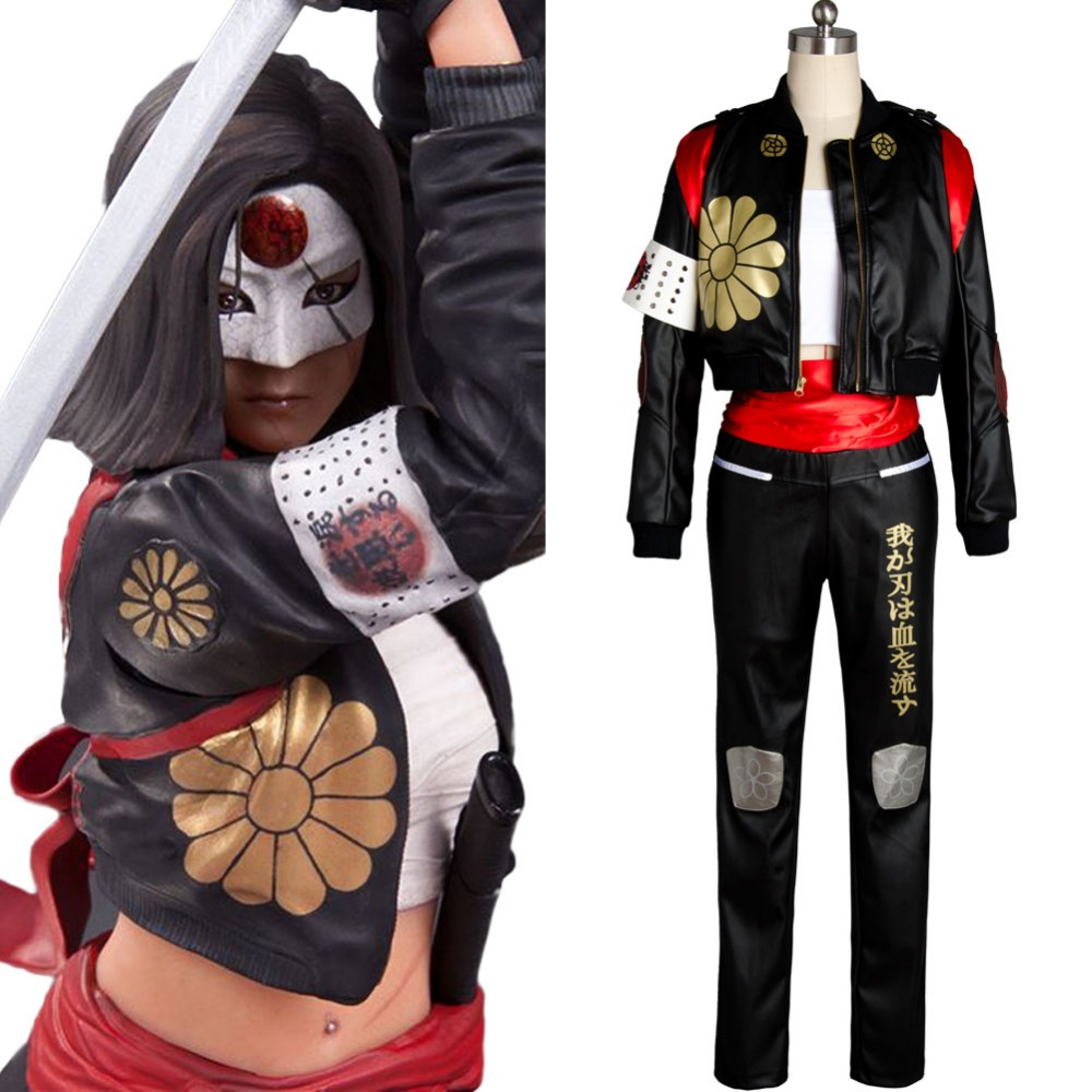Suicide Squad katana Carnival Cosplay Costume Faux Leather Full Set Uniform Halloween Carnival Costume Women