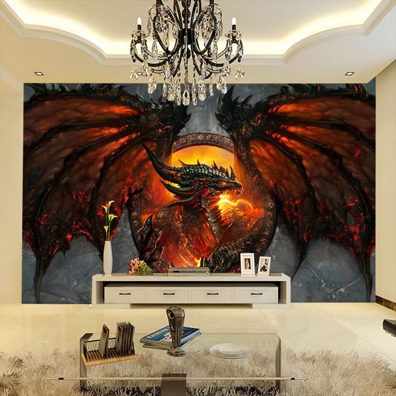 Kustom D Foto Wallpaper Naga Api Besar Mural Interior Rumah Seni Dekorasi Kamar Tidur Ruang Tamu