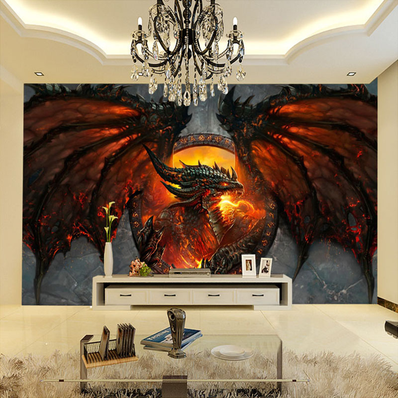 Custom 3D Photo Wallpaper Fire Dragon Large Murals Home Interior Art Decor Bedroom Living Room Wallpaper Papel De Parede 3D pastoral large flower wallpapers 3d stereoscopic non woven embossed wallpaper for living room bedroom home decor papel de parede