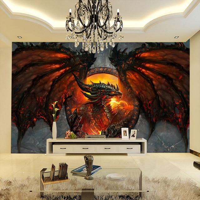 Custom 3d photo wallpaper fire dragon large murals home for Dragon mural wallpaper
