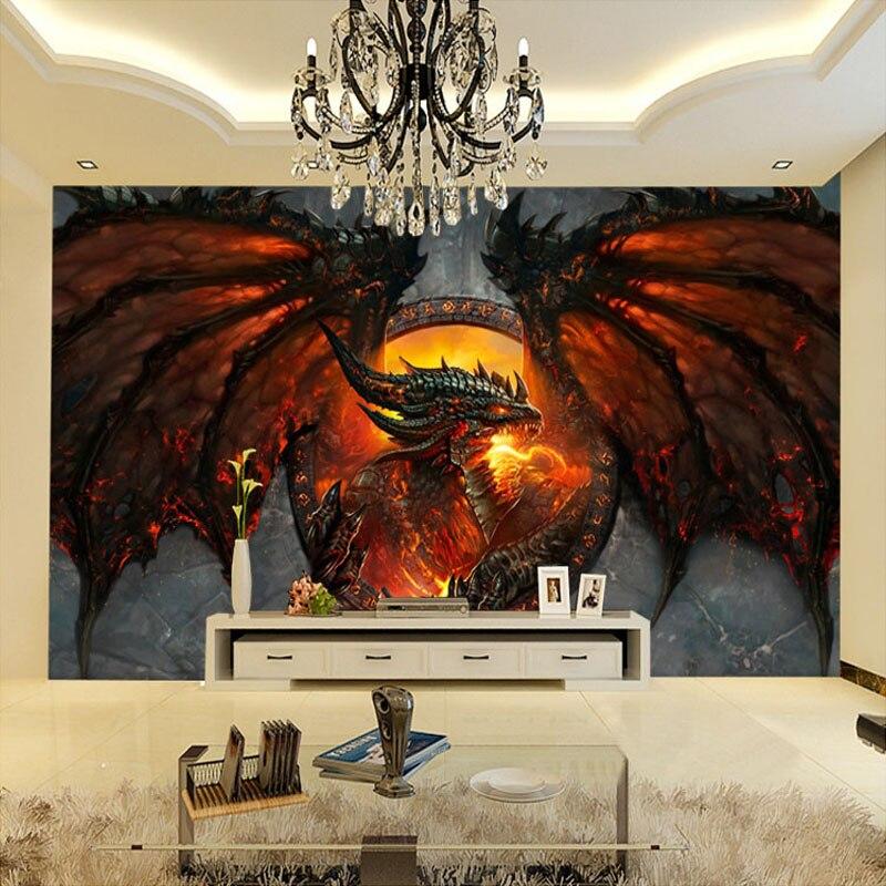 Popular fire wallpaper buy cheap fire wallpaper lots from for Dragon mural wallpaper