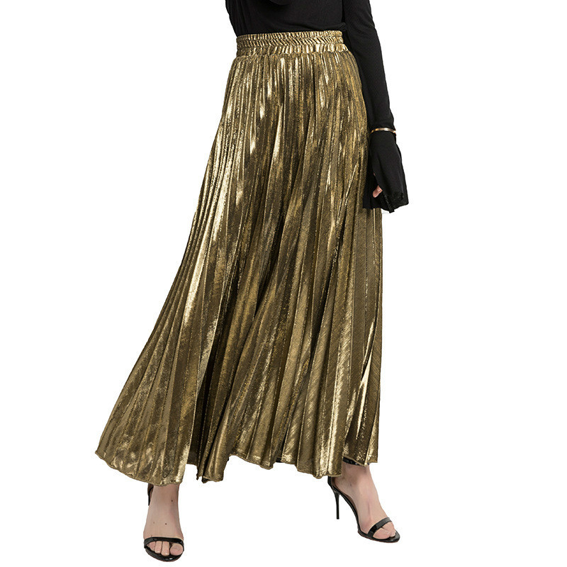 LANMREM 2019 New Summer Fashion Women Clothes High Waist A-line Pleated Sliver Vintage Elastic Long Halfbody Skirt WH28501XL