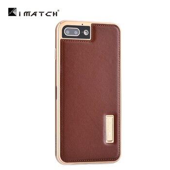 Oryginalny iMatch metalowa obudowa dla iPhone 7/8 Plus Coque etui z prawdziwej skóry dla iPhone 6 6 S Plus aluminium metalowy zderzak tylna pokrywa