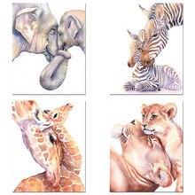 Nordic Canvas Art Diamond Painting Nursery Giraffe Lion Zebra Print Animal Wall Picture Baby Embroidery