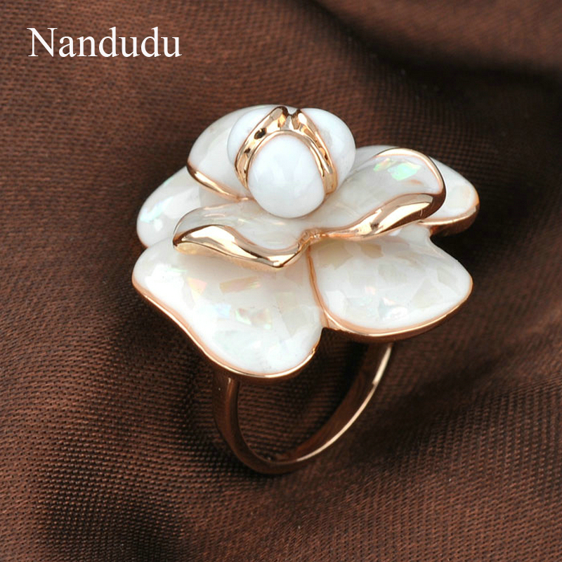 Nandudu Kualitas Tinggi Hot Sale Blooming Enamel Flower Rings Bridal - Perhiasan fashion - Foto 4