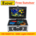 "Updated Eyoyo HD 1000TVL Underwater Fishing Video Camera Fish Finder  7"" Color Monitor Light ON/OFF Free Sunvisor"