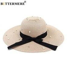BUTTERMERE Summer Hats For Women Straw Pink Sun Caps Female Pearl Elegant Bowknot Ladies Fashion Beach Wide Brim Anti UV