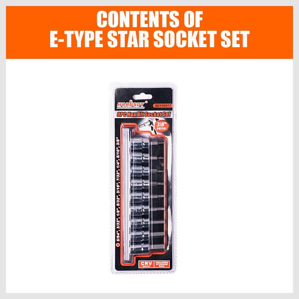 "Купить с кэшбэком 9Pcs 3/8"" Drive Socket Bit Hex Key Allen Wrench Set Socket Wrench SAE With Sliding Rail Holder Auto Repair Hand Tool Set"