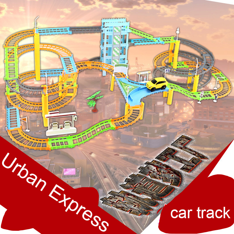 Car Racing Magical Track Urban Express High Speed Electric City Highway Rail Track Race Driving Toys For Children Boys Girls cute sunlight toys for boys girls vehicle multi track rail car