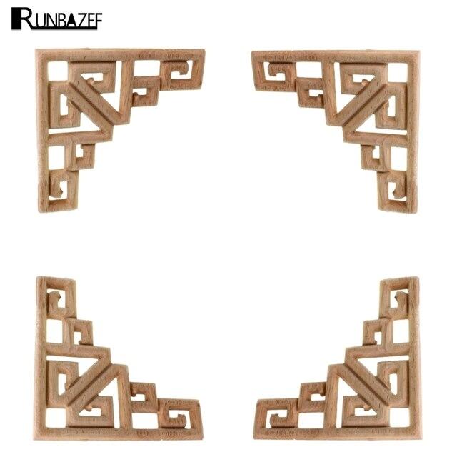 RUNBAZEF Decal Corner Frame Doors Furniture Woodcarving Decorative Wooden Figurines Wood Carved Applique Vintage Home Decor 1