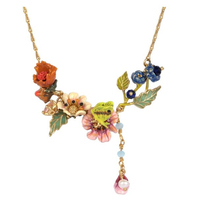 New Enamel Dripping Butterfly Flower Lady Short Necklace