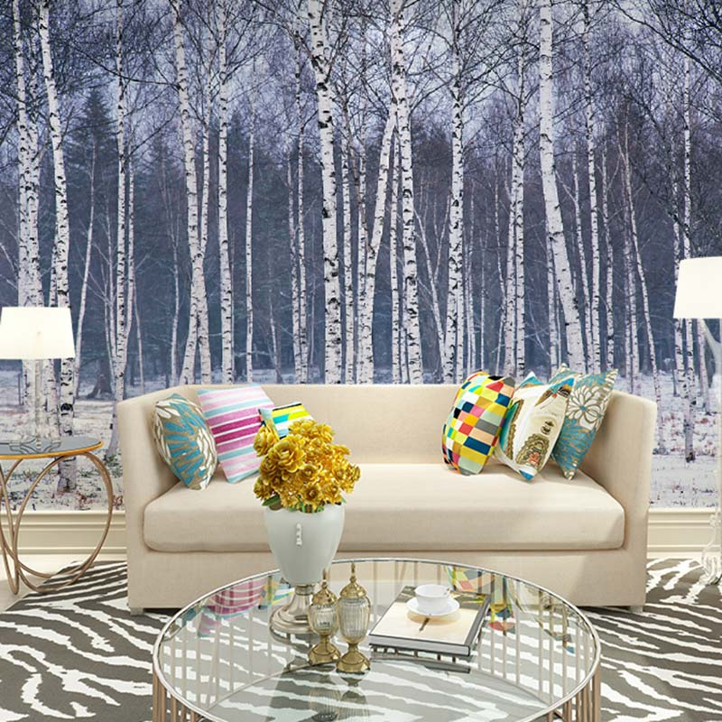 Popular birch tree wallpaper mural buy cheap birch tree for Winter wall murals