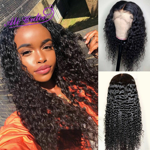 Ali Grace Peruvian 13×6 13X4 Lace Front Wig With Baby Hair Kinky Curly Lace Front Human Hair Wigs Natural Color 360 Frontal Wigs